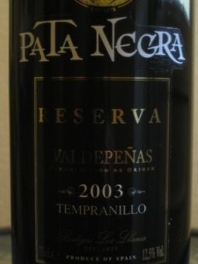 pata negra valdepenas wine label