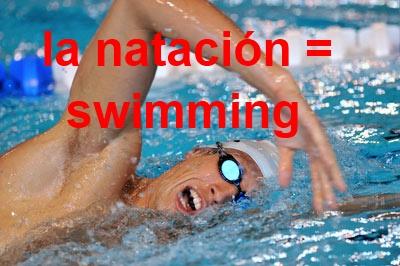 la natación = swimming