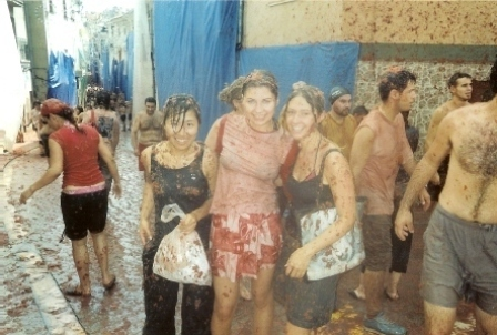 Me (right) and my friends after La Tomatina