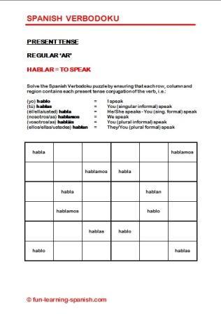 Hablar - Free Verbodoku puzzle