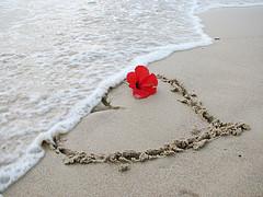 Corazon en la playa