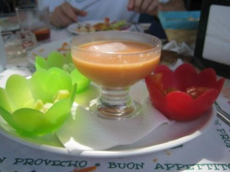 gazpacho with accompaniments